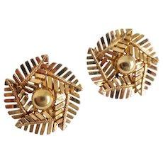 Gold Filled Vintage Fern Leaf Pattern Earrings, Clip Backs