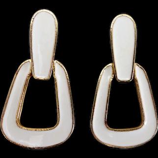 PAULINE RADER White Enamel Doorknocker Modernist Earrings, Pierced