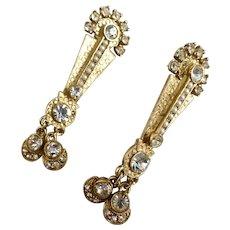 RICHELIEU Long Gold Tone Rhinestone and Seed Pearl Earrings, Post Back