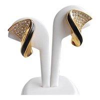Elegant Vintage Christian DIOR Gold Tone, Rhinestones and Black Enamel Earrings, Clip backs