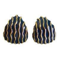 ST. JOHN Dark Navy Enamel and Gold Tone Earrings, Clip Backs