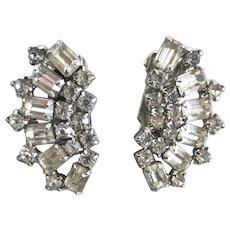 WEISS Crystal Rhinestone Earrings, Clip Backs