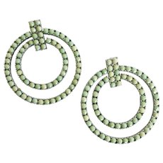 Large Minty Green Double Hoops, Post Backs