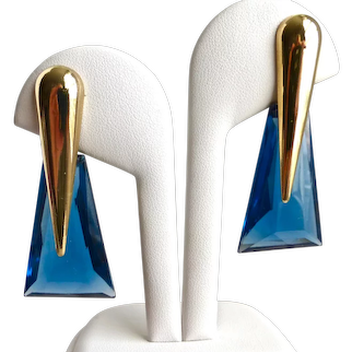 Sapphire Faceted Cut Glass Modernist Drop Earrings, Post back