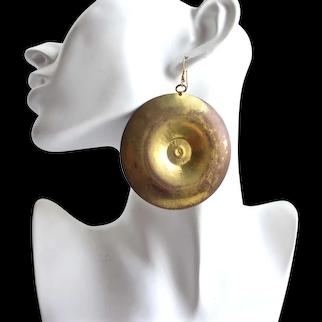 Huge Runway Distressed Brass Disc Earrings