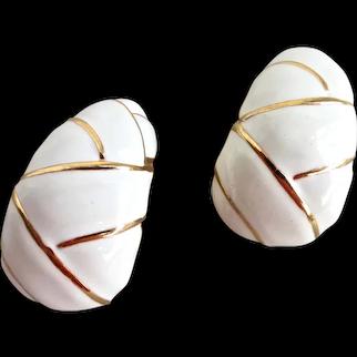 Large White Enamel Curved Demi Hoops,  Clip Backs