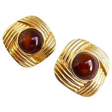 MARESCO Signed Gold tone with Glass Cabochon Earrings, Clip Backs