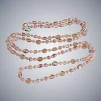Peachy Pink Glass Flapper Length Necklace,  56 Inches