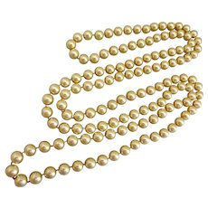 Exquisite Long Necklace of Perfect 10mm Golden Glass Faux Pearls, 58 Inches