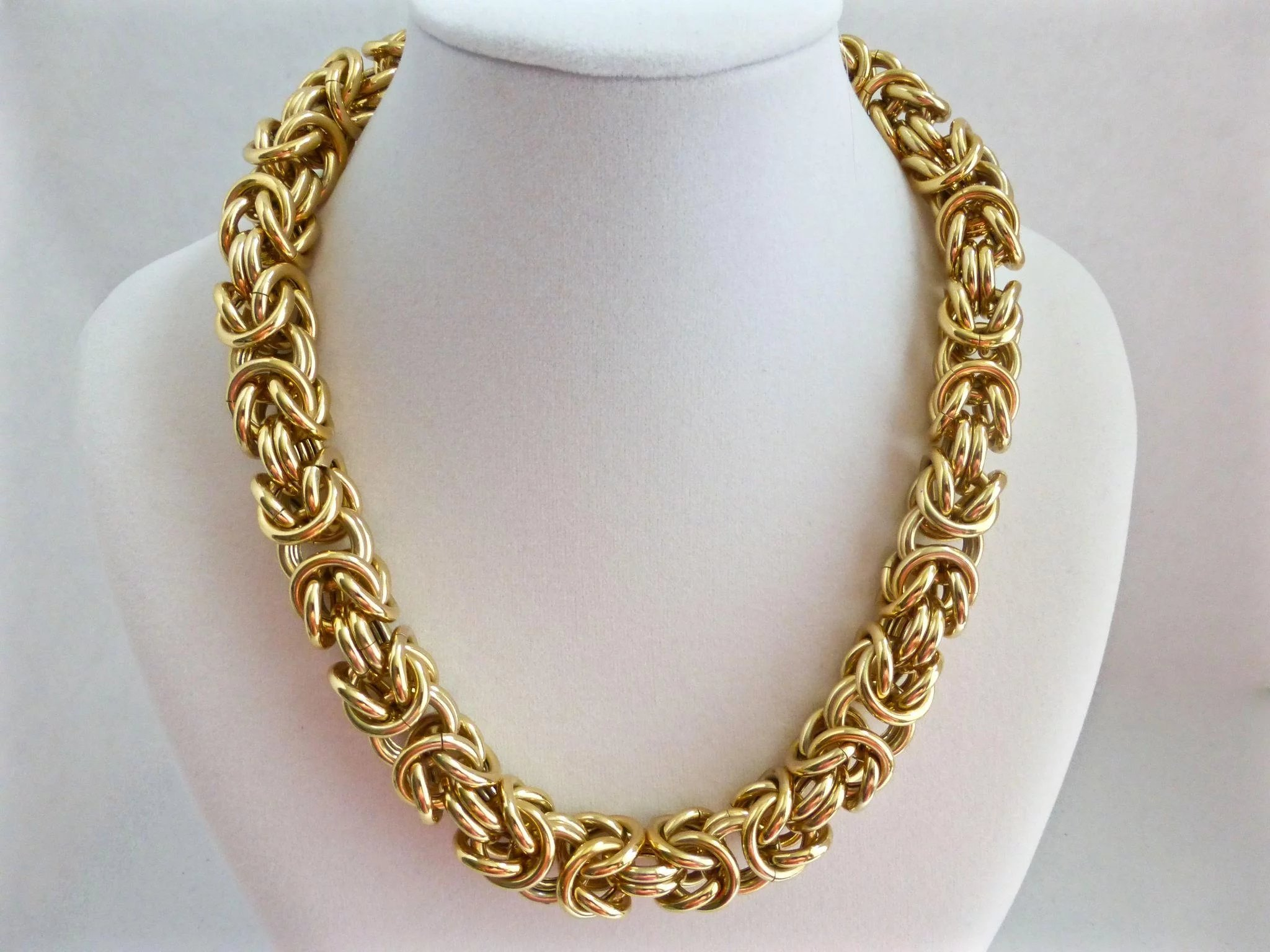 gold byzantine mens yellow chain chains inch necklace