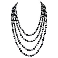 Black and Clear Faceted Crystal Flapper Necklace, 86 Inches, Wow!