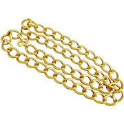 """Zentall Gold Tone Textured Links Chain Necklace, 36"""""""