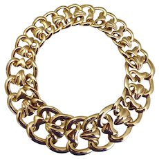 Big and Bold Statement Gold Tone Vintage Choker Necklace
