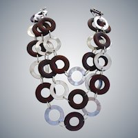 """Bold and Wild Statement Necklace of Wood and Metal Rings, 19"""" to 26"""""""
