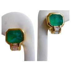 Faux Emerald and Rhinestone Baguettes Clip Earrings, Estate