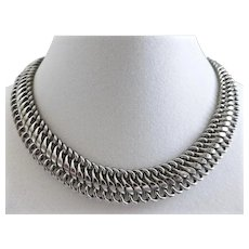 Sleek, Chic, Modernist Silver Tone Link Choker Necklace, 15""