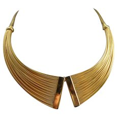 "Napier Gold Tone ""Collar"" Choker Necklace"