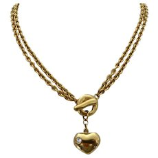 Vintage Givenchy Signed Goldtone Choker/Long Necklace with Heart and Toggle