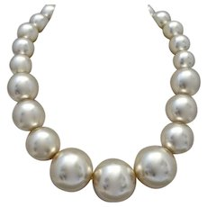 Outrageously Huge Faux Pearl Vintage Choker Necklace, 19""