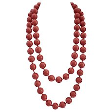 Long Coral Color Large Vintage Lucite Beads Necklace, 52""