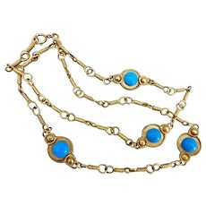 """Matte Gold Tone Chain with Turquoise Acrylic Cabochon Stations, 40"""""""