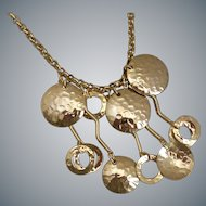 Quirky Gold Tone Discs and Hanging Squiggles Necklace, 18""