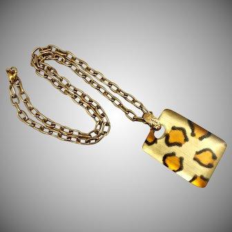 "Alexis Bittar Cheetah Print Resin Pendant on Gold Tone Chain,  29"""