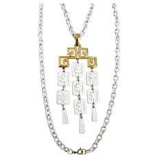 Mid Century Crown Trifari White Enamel Waterfall Pendant Necklace