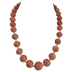 Vintage Graduated Salmon Color Sponge Coral Necklace, 19""