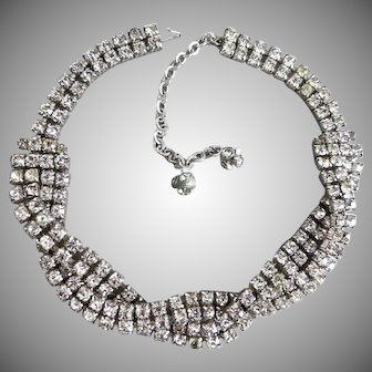 Clear Rhinestone Twist 1950s Choker Necklace