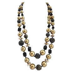"""Mid Century Black and Gold Tone Double Strand Beaded Necklace, 24"""""""