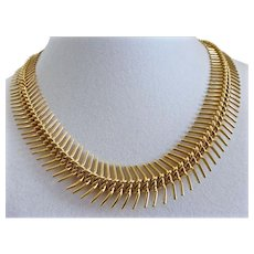 Fun, Spikey Gold Tone Choker Necklace with 3 Inch Extension