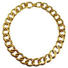"Napier Large Link Gold Tone Choker necklace,  16.5"""