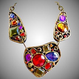 Festive and Unique Collar Necklace with Multicolored Stones, Estate