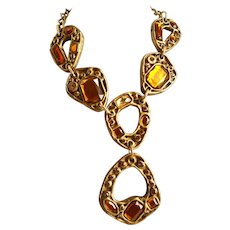 Graceful Six Section Honey and Amber Colored Necklace