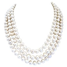 Triple Strand Necklace of White Cultured Freshwater Pearls, 8-9mm