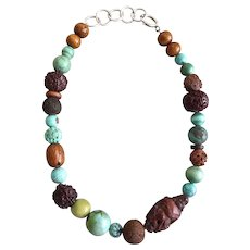 Mixed Turquoises, Carved Nuts and Seeds Necklace on Sterling Silver Chain