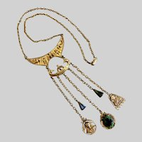 """Vintage Egyptian Revival Necklace Signed """"ART"""",  22 Inches"""