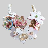Betsey Johnson Mixed Florals, Faux Pearls and Rhinestones Necklace