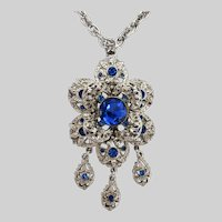 Vintage Sapphire Rhinestone Silver Tone Pendant with Clip Earrings