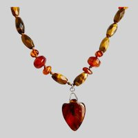 Vintage Necklace 0f Amber, Tiger's Eye and  Carnelian Beads with Amber Heart Pendant, 19""