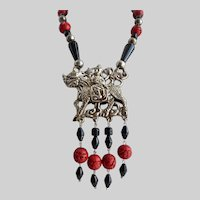 Chinese/Mongolian Dragon/Horse and Rider Costume Pendant Necklace