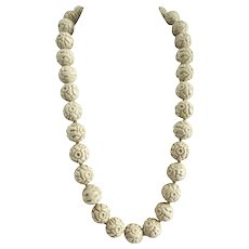 Vintage Off-White Textured Molded Lucite Beaded Necklace, 25 inches
