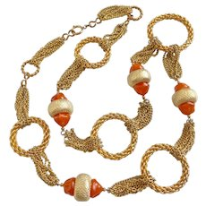 """Long Vintage Gold Tone Necklace of Rings and Chains with Faux Carnelian , 38"""""""