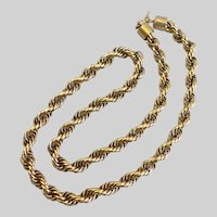 Trifari Gold Tone Rope Chain Necklace, 24""