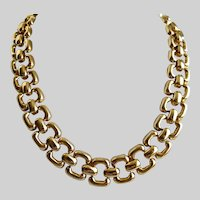 Rounded Oblong Links Gold Tone Necklace.  19""