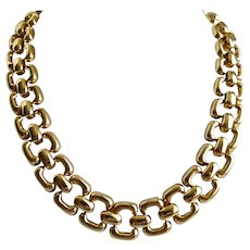 """Rounded Oblong Links Gold Tone Necklace.  19"""""""