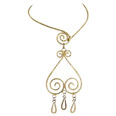 Handcrafted Choker Necklace of Hammered Gold Tone with Spiral Pendant Drops