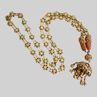 Dramatic Long Gilt Brass Ethnic Floral Chain with Pendant