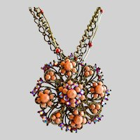 Vintage Pendant Necklace of Faux Salmon Coral and Red Rhinestones